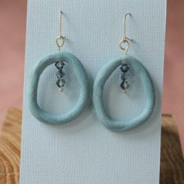 Boucles d'oreilles Anneau bleu en porcelaine
