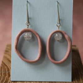 Boucles d'oreilles Anneau corail en porcelaine