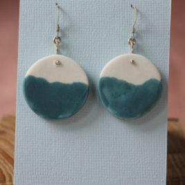 Boucles d'oreilles Horizon bleu en porcelaine