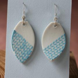Boucles d'oreilles Epi bleu en porcelaine