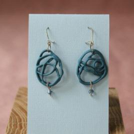 Boucles d'oreilles Filigrane bleu en porcelaine