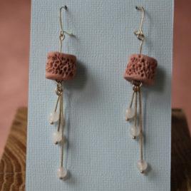 Boucles d'oreilles Perles de Corail en porcelaine